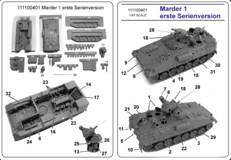 MARDER frühe Ausführung mit Inneneinrichtung, Luken offen, Alu-BK und RP-Laufwerk