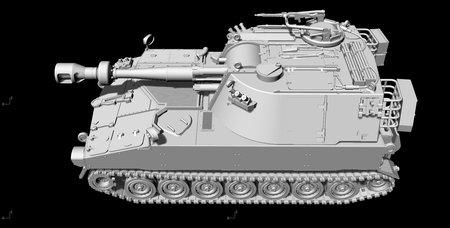 M109G frühe Ausführung mit kurzem 155mm Rohr, komplett neues maßhaltiges Modell mit Luken zum Öffnen