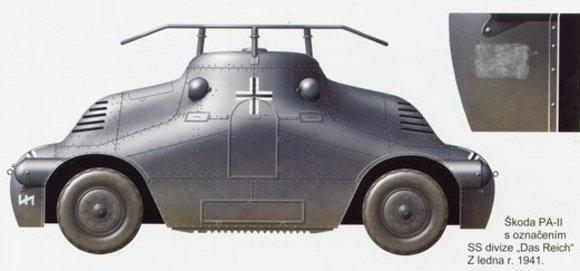 SKODA PA-II Schildkröte - Funkwagen SS-Das Reich mit Rahmenantenne